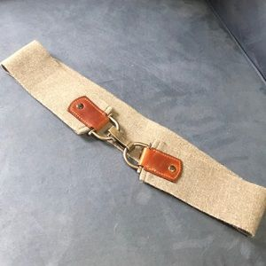 Silver and brown stretchy belt